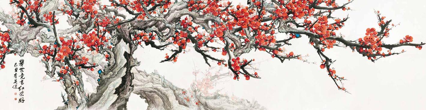 举世竞言红紫好 李英保 Burgeoning Flowers Worthy of Admiration Li Yingbao / 257cm×995cm