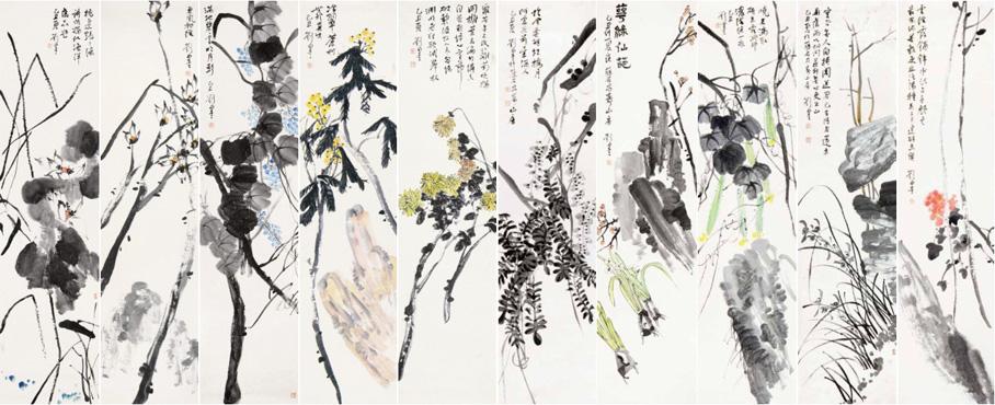 花鸟十条屏 刘墨 Ten Screens of Flowers & Birds Liu Mo / 215cm×52.5cm×10