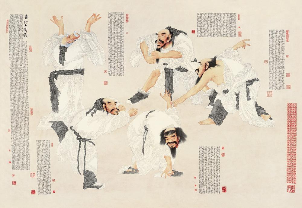 华佗五禽戏 朱兴华 / Huatuo Curing People by Playing like Five Different Kinds of Animals Zhu Xinghua / 136.5cm×197.5cm 2008年北京奥林匹克美术大会国画金奖