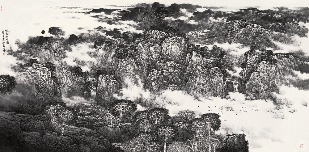 岱岳雨后图 黄国民 / Taishan Mountain after Raining Huang Guomin / 124.5cm×245.5cm