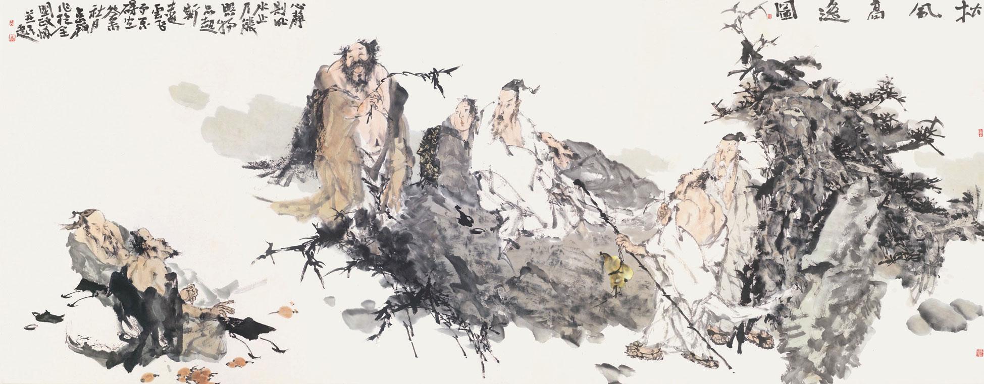 松风高逸图 梁占岩 /  Pine Tree Wavering in the Wind Liang Zhanyan / 144cm×366cm