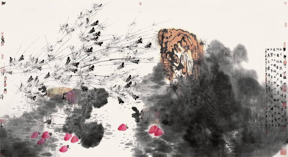 唐人诗意 卢禹舜 /  Painting from Poem of Tang Dynasty Lu Yushun / 96cm×180cm