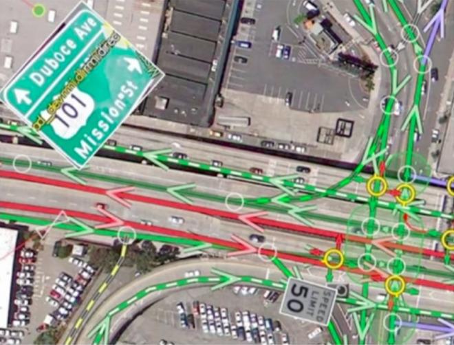 谷歌街道地�_atlas中可见谷歌街景数据在算法上捕捉到的街道标示,还有车流量信息