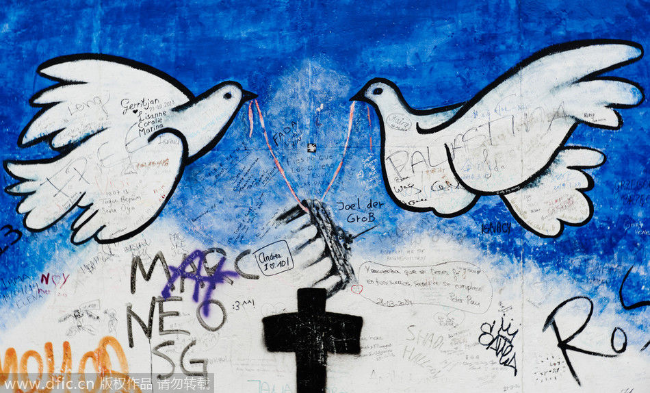 游柏林墙东侧画廊 看爱与和平的涂鸦 _频道_凤凰网
