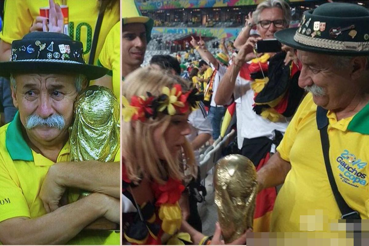 """他随后把自制的大力神杯送给了一位德国女球迷:""""把这个带去决赛吧。我很难过,但这是你们应得的。祝贺你们。""""老人名叫Clovis Acosta Fernandes,跟随巴西队去过7届世界杯、6届美洲杯、4届联合会杯、1届奥运会。去过66个国家,看了154场比赛。看过巴西的3届世界杯决赛中夺冠2次。"""