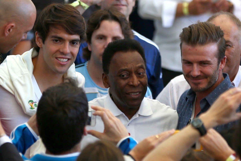 2014年7月14日,巴西马拉卡纳球场,2014巴西世界杯决赛,德国vs阿根廷。众多球星看决赛,小贝、卡卡、贝利齐亮相。