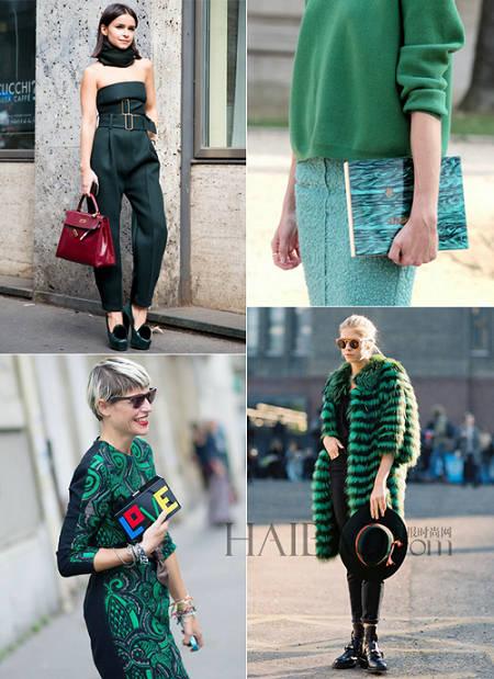秋冬时尚绿意 欧美街拍型人演绎绿色穿搭