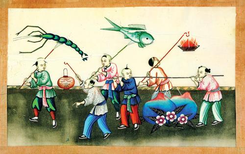 通草画闹元宵-海丝遗珍 通草画 百年前广州海上贸易的产物