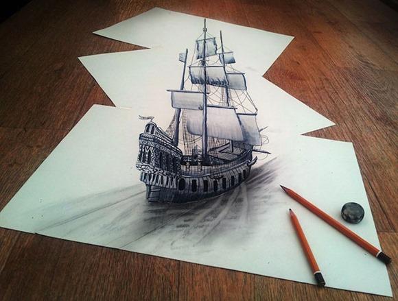 仅凭手绘可活灵活现 荷兰画家3D铅笔手绘图图片