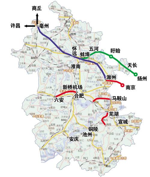 铁线路(含近期规划建设的四条城际铁路)-蚌埠出发 城际铁路未来