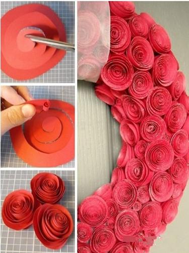 这种玫瑰花环的制作简单,朋友结婚亲手做一个送给他,真诚的心意一定会