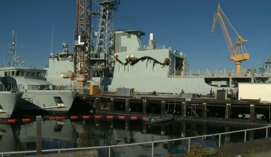 加拿大图纸相撞驱逐舰比例侧面遭补给舰拦腰军舰机库细节图片