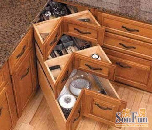 小小创意消除厨房转角处比例让死角变得更完橱柜算调量安装图纸图片