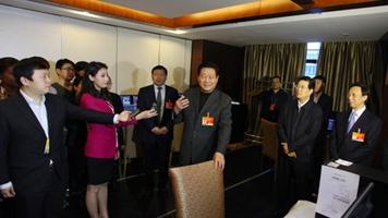 赵正永娄勤俭等看望报道全国两会的陕西记者