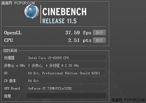CineBench R11.5测试成绩