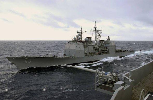 资料图:美军考本斯号导弹巡洋舰