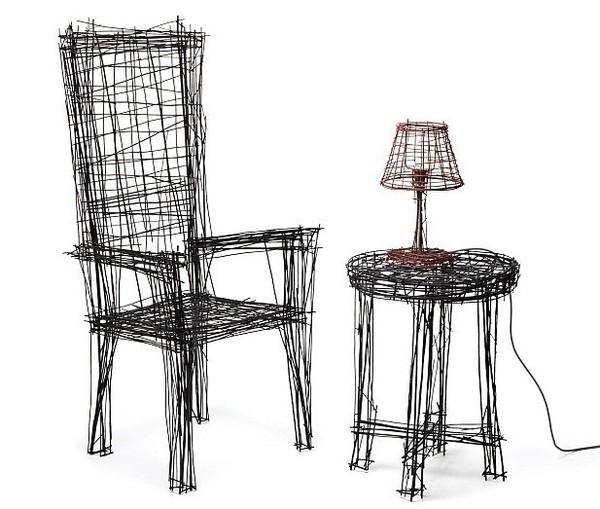 韩国设计师用素描打造钢丝家具涂鸦家具看似平面澳蒂莉娅图片