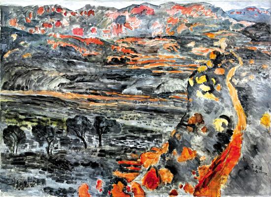 余友涵的风景画《沂蒙山第12》(2004)