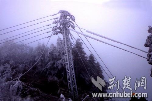 图为:被覆冰压斜的电力杆塔和拉断的电线