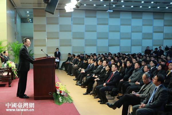 王郁琦在南京大学与部分师生座谈并演讲。(中国台湾网田云鹏摄)
