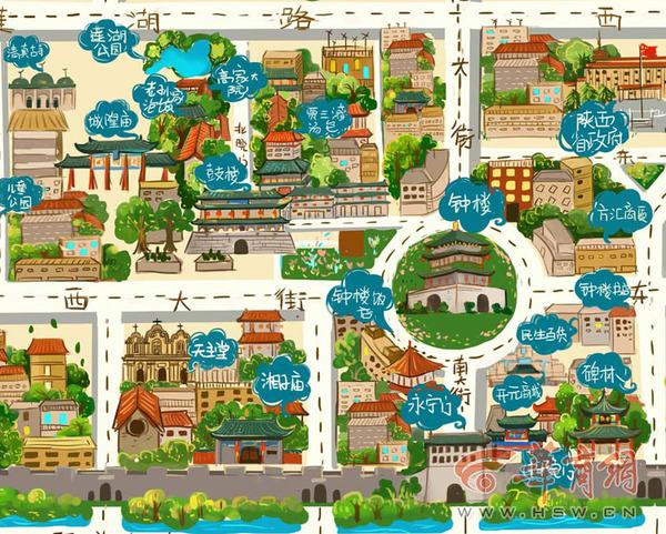 第一版手绘地图钟楼特写(图片由作者杜咪咪提供)