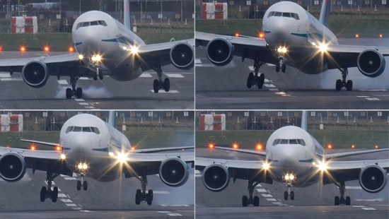 重达120吨的飞机的机翼在大风的作用下来回摇摆