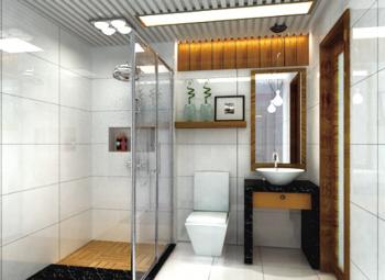设计说明:二层卫生间的设计和客房风格统一