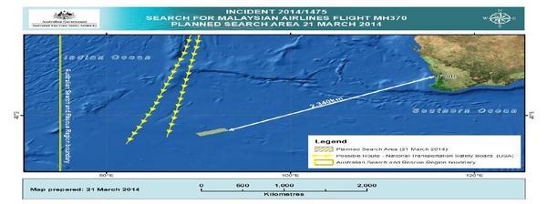 澳大利亚/澳大利亚海事安全局21日上午公布的当天搜索计划图...