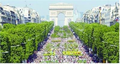 大道:被看作是巴黎最美丽的街道,700米长的林荫大道,平坦的英高清图片