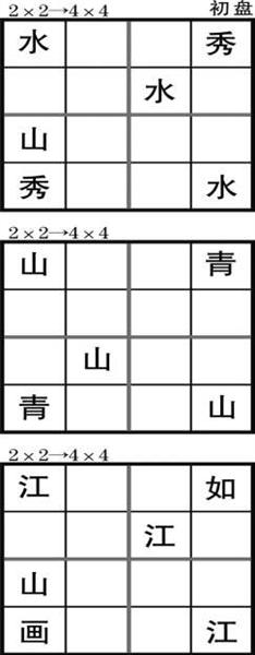 游戏规则 请把成语中的四个汉字填满汉字方阵,每个汉字只能用一次.