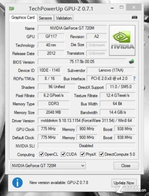 NVIDIA Geforce 720M独立显卡