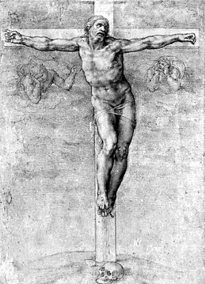 米开朗琪罗的《十字架上的耶稣》图片
