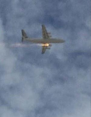 澳大利亚一架飞机引擎起火迫降:机身冒火苗(图)