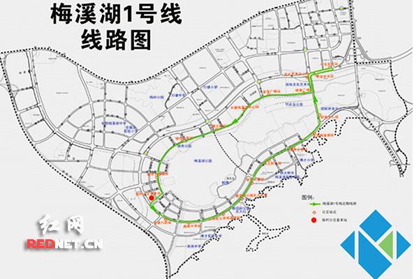 长沙梅溪湖首条穿梭巴士运营 远期将延伸至汽车西站