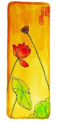 莲主题手绘书签