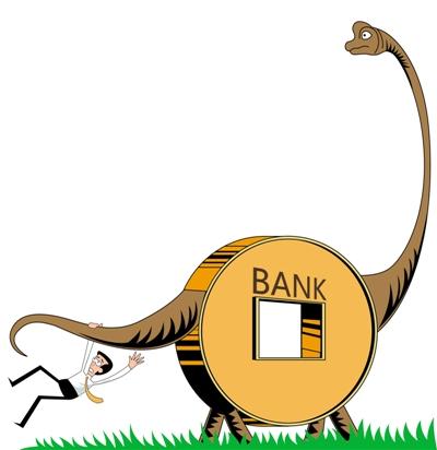 比尔盖茨预言:传统银行将会成为21世纪的恐龙。而刚刚创立试点的民营银行却要往即将成为恐龙的方向奔去。 银监会正式批准三家民营银行的筹建申请后,有研究人员直言,民营银行真的办起来,前途也是很坎坷的(8月6日《中国经济周刊》)。 总体来说,虽然监管部门放行了民营银行试点,但从风险角度来看,其要求与其他所有制形式的银行设立和进入条件苛刻得多,比如:在自担风险上,要求民营银行在面临破产清算时,若资金不足以偿付,则要以企业净资产或实际控制人的净资产对存款人存款给予全额或部分赔付。实际上,民营银行成为了发起