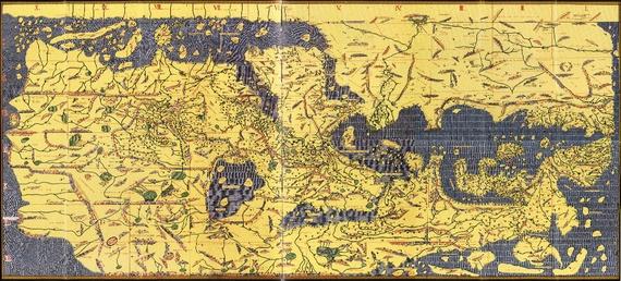 尼罗河三角洲在顶部,波斯湾在左上方,希腊在右下角,塞浦路斯,克里特岛