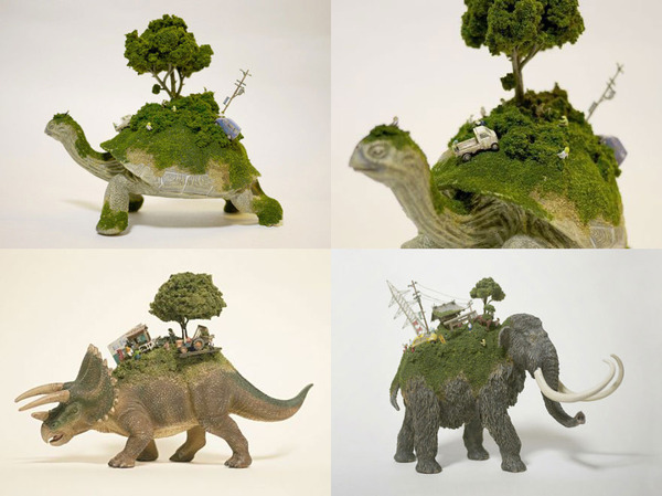 日本雕塑大师的手工雕塑:动物背上的世界