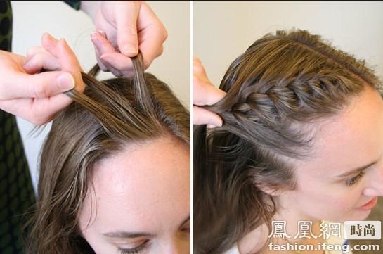 无刘海清爽编发 适合脸型:瓜子脸发型 将头发向后编辫,面部会看起来更加清爽,别致的发型也会令你凸显出浪漫美妙的气质。 步骤: 1.首先将头发梳直,然后将头顶的头发进行二八划分,划出U形区。 2.将U形区的头发全部梳至一侧后,先选出U形区最前面的一束头发,分成三股开始编制麻花辫。 3.