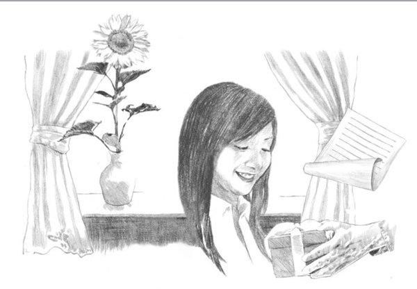 浪漫爱情手绘黑白