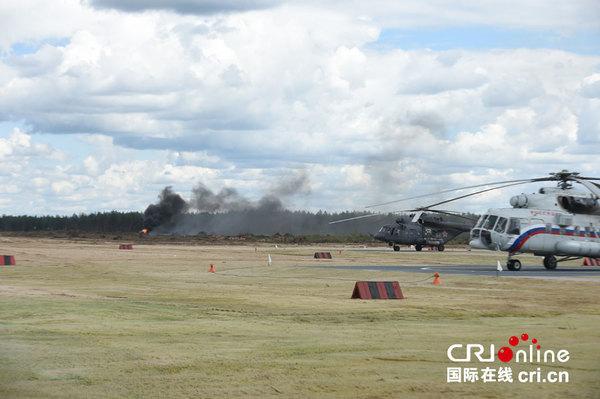 俄罗斯一架武装直升机在航空表演中坠毁(高清组图)