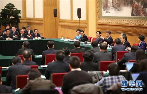 2015年3月9日,中共中央总书记、国家主席、中央军委主席习近平参加十二届全国人大三次会议吉林代表团的审议。 新华社记者兰红光摄
