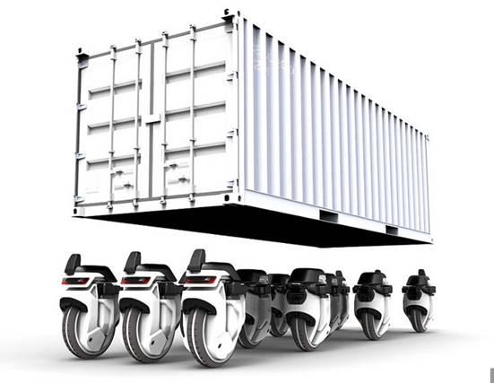 这么多Transwheel组合在一起,可以代替大型集装箱货车的功能。(图片:《每日邮报》)