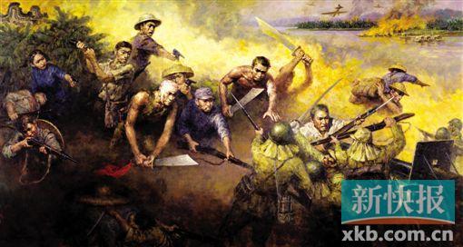 潘嘉俊 东江战火 广东省美协原副主席 潘嘉俊 油画《东江战火》描绘了华南抗战游击队与侵略者短兵相接,白刃格斗的场景。1938年夏,敌军的铁蹄踏入广东,烧杀淫掠。南粤军民奋起抵抗,在中国共产党的领导下,建立了东江纵队、琼崖纵队、珠江纵队等七支抗战游击队,统称华南抗战纵队。到抗战胜利前夕,该纵队对敌军作战3000多次,抗击和牵制敌军15万余人。华南成为中国共产党领导的敌后三大战场之一。中国军民以血肉之躯,挽救民族危亡,抗击敌寇,付出了巨大的牺牲。伟大的抗战精神永远气壮山河。 在画面构图上,我选择了正面表达