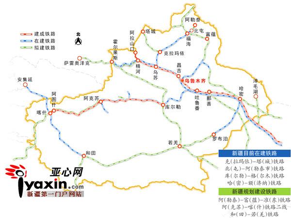 建成后将在新疆北部首次形成环准噶尔盆地铁路网,并成为新疆北通道的