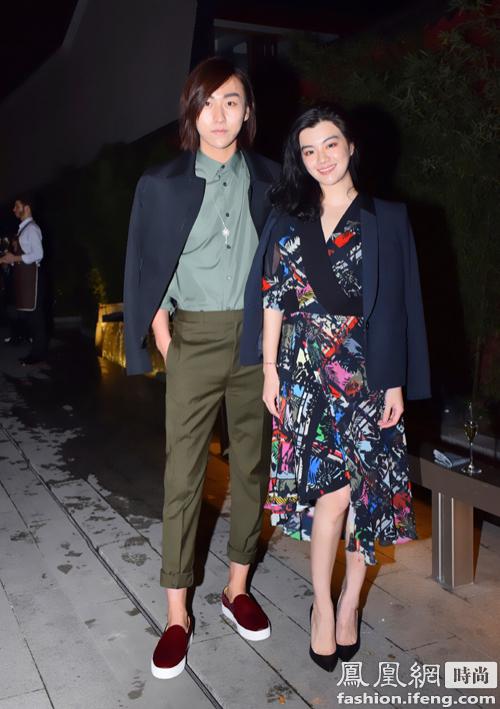 新锐服装设计师伦思博(右)亮相由时尚先生主办的mini新绅士时尚派对