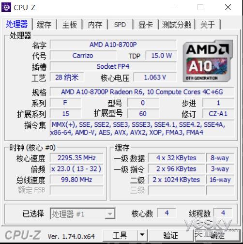 amd a10-8700p处理器信息