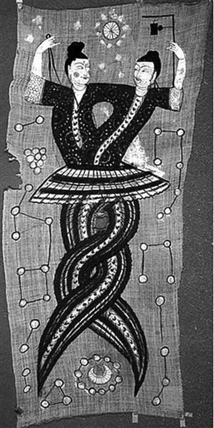 silk painting in tang dynasty, people first snake fuxi nuwa figure.