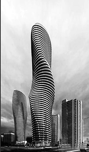 """加拿大多伦多的""""玛丽莲梦露""""大厦由70后建筑师马岩松设计,造型奇特。此为效果图。"""