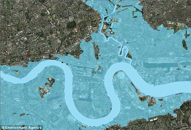 最新地图显示潮水或导致伦敦成水下城市